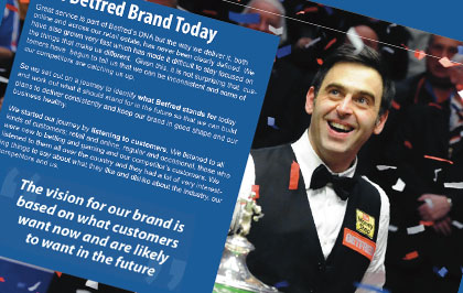 During my time at Betfred we went through a major change in direction for the brand. It was my responsibility to create the brand guidelines and to make sure they were adhered to internally and externally.
