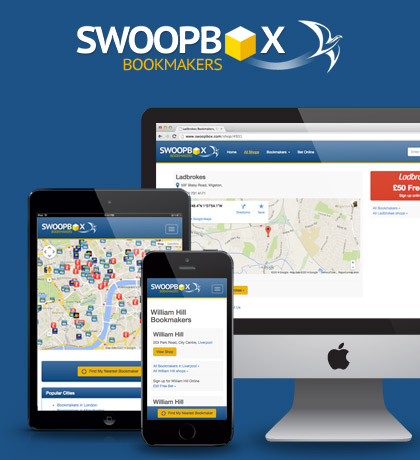 Responsive web app that uses GPS and postcode search to find your nearest UK bookmaker. Swoopbox.com
